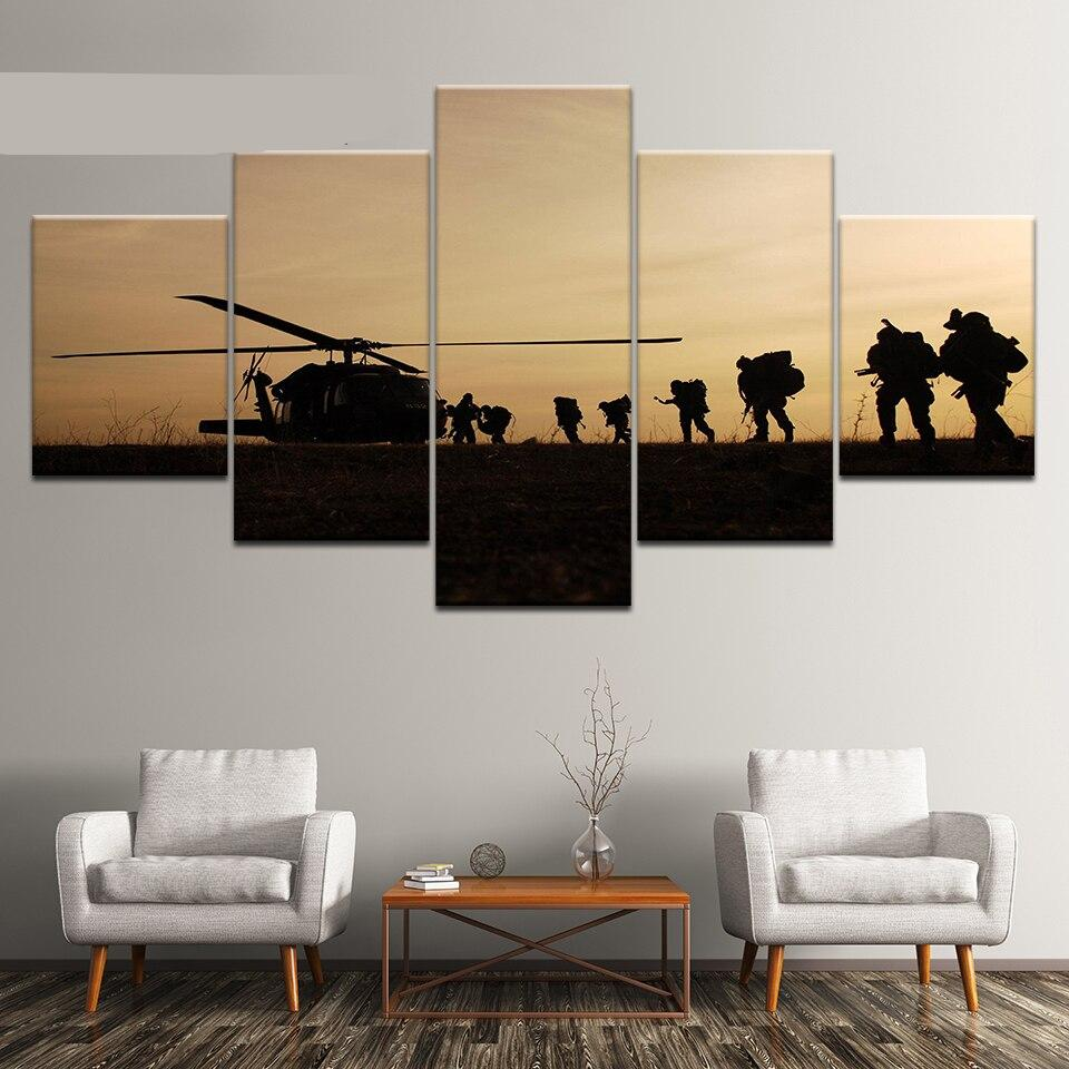 5 Panel Frame American Soldiers Silhouette Sunset Canvas Wall Art Military Poster Print Troops Landscape Painting
