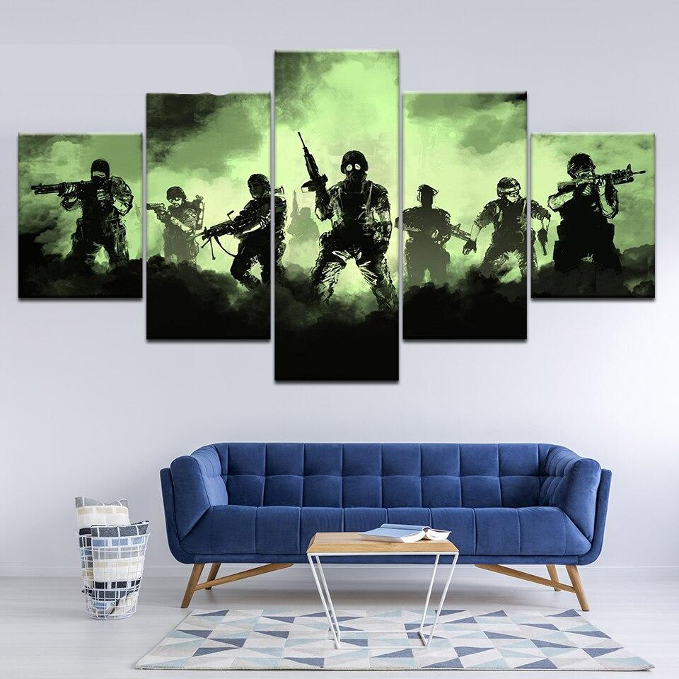 Modern Canvas Picture Hd Printed Wall Art Frame 5 Pieces Army Soldier Abstract Landscape Living Room Home Paintings Poster