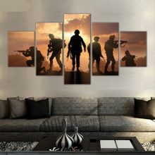 Modern Military Soldiers Silhouettes Pictures 5 Piece Canvas Painting Wall Art Prints Living Room Home With Frames