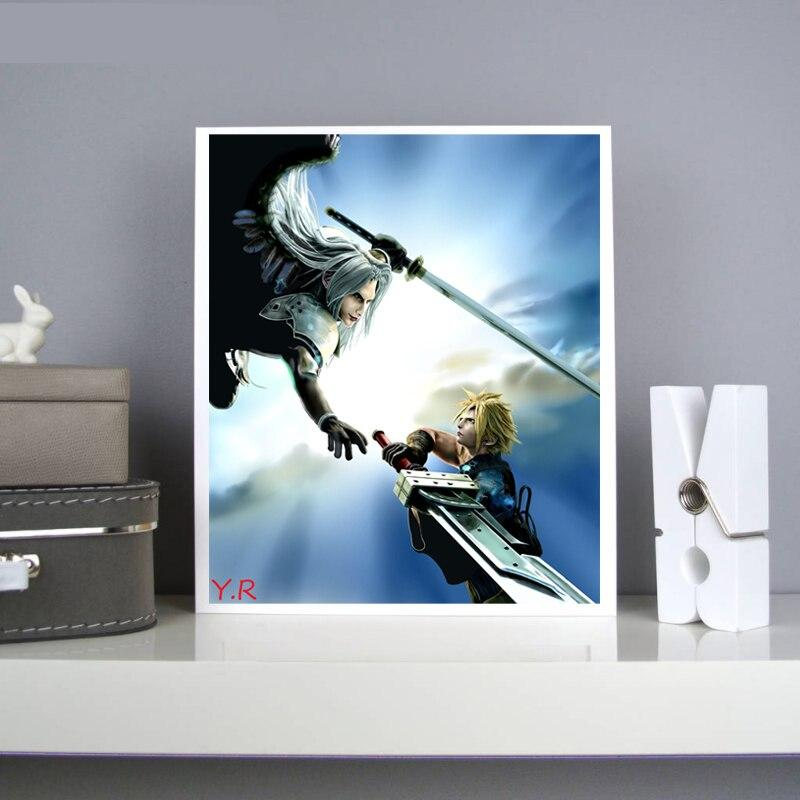 Final Fantasy Cloud Vs Sephiroth Modern Canvas Painting Print Oil Poster Wall Art Hd Picture Living Room Home