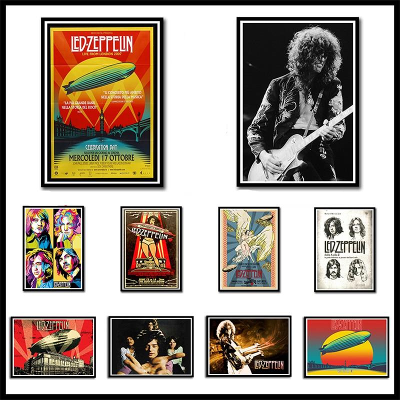Led Zeppelin Rock Music Coated Paper Posters Home Bedroom Wall Poster Frameless