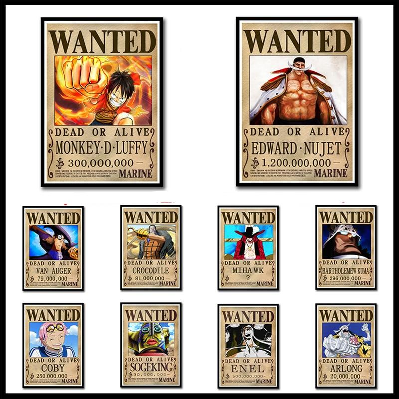 One Piece Wanted Posters Luffy Zoro Coated Paper Home Decoration Painting Bedroom Frameless