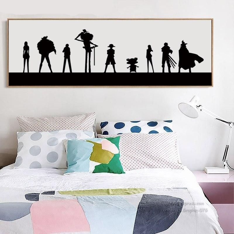07g Black And White Simple Japanese Anime One Piece Banner Canvas Art Painting Print Poster Picture Wall Home Decorative