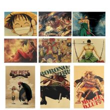 Classic Characters One Piece Poster Cartoon Comic Ace Kraft Paper Cafe Bar Home Painting Wall Sticker 5035cm