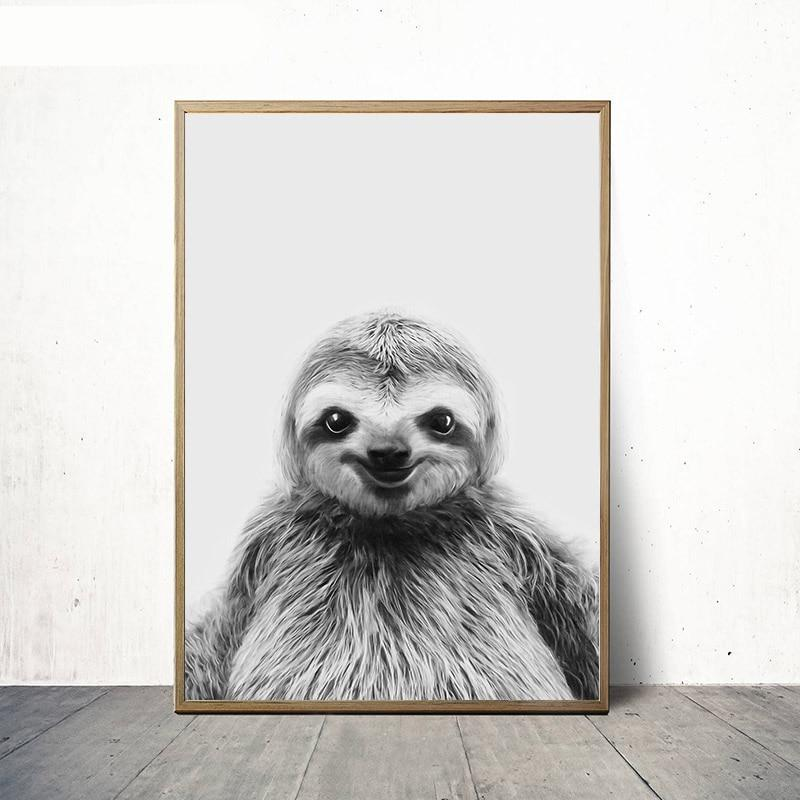 Black White Sloth Canvas Poster Animal Nurser Print Wall Art Painting Nordic Kids Decoration Picture Children Bedroom
