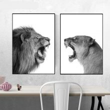 Lion And Canvas Poster Black White Woodlands Animal Wall Art Print Painting Nursery Picture Living Room