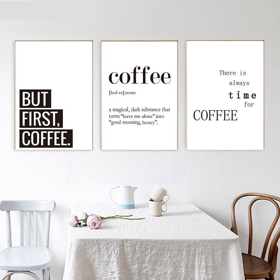 Minimalist Black And White Coffee Quotes Posters Print Nordic ...