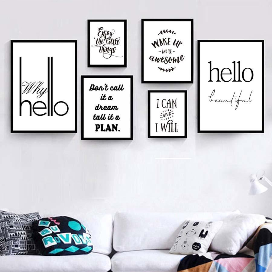 Modern Nordic Black White Minimalist Typography Life Quotes Art Print Poster Wall Picture Canvas Painting Home No Frame