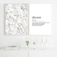 Scandinavian Posters Feathers Dream Definition Print Quote Canvas Painting Minimalist Wall Art Pictures Living Room
